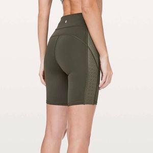 Olive green lululemon biker shorts